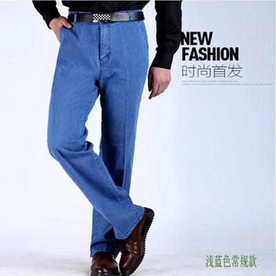 夏天老人牛仔裤高腰男超薄款高腰宽松中老年男士爸爸弹力大码裤子