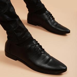 夏季黑色商务正装皮鞋男尖头透气真皮内增高软皮韩版青年休闲男鞋