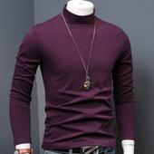 小衫 保暖衣 修身 男装 t恤长袖 中半高领男士 冬季纯色加厚加绒打底衫