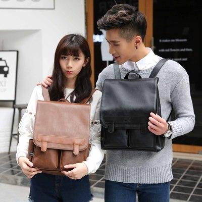 韩版男女双肩背包复古学院风英伦PU皮质中学生书包旅行包电脑背包
