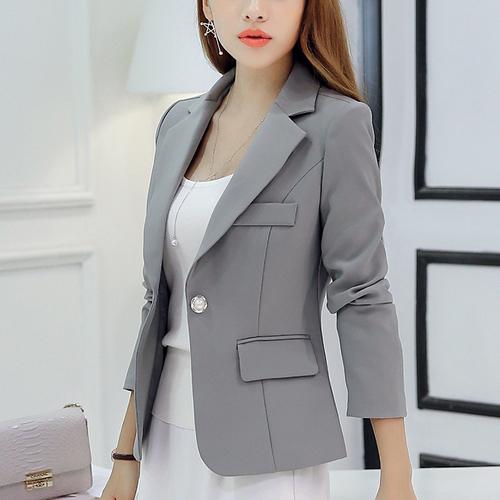 西装外套女2018秋装新款韩版修身显瘦长袖女士休闲百搭小西服短款