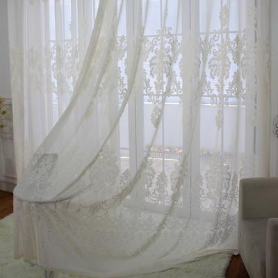 高档纯色欧式丝绒窗帘客厅卧室落地窗百搭白色丝绒窗纱帘成品定制什么牌子好