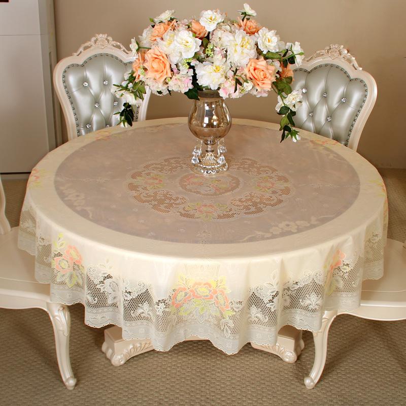 欧式圆桌桌布防水圆桌布防水防油免洗酒店圆形餐桌布田园塑料台布