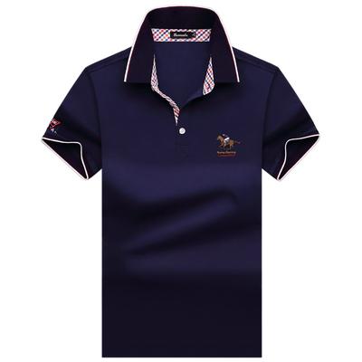 Burscalm/伯思凯夏季新款t恤 男士纯棉翻领短袖T恤 免烫半袖