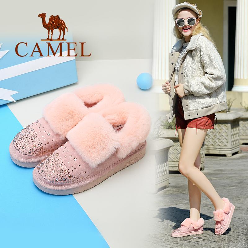 骆驼女鞋冬季新款 棉靴平底加绒短靴女时尚面包鞋 保暖防滑雪地靴