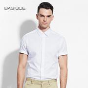 元本BASIQUE  纯白提花暗门襟短袖衬衫 修身男士夏季纯棉商务衬衣