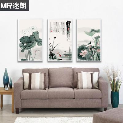 迷朗diy数字油画 客厅花卉风景三联三联大幅手绘装饰画 荷花荷塘
