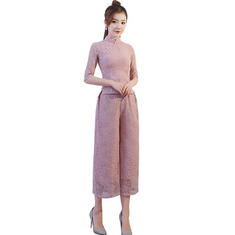 少女蕾丝旗袍连衣裙套装2018春夏新款名媛气质修身阔腿裤两件套女