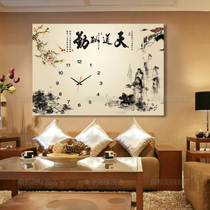 Crystal membrane single frame decorative painting clock distribution box living room restaurant hanging painting Chinese painting tiandaoqin