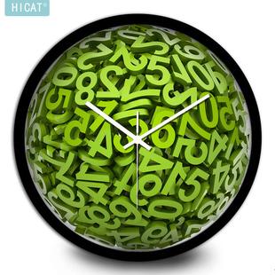 创意绿色时钟立体数字挂钟时尚客厅静音钟表个性艺术墙钟挂表圆钟