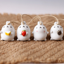 可爱小耳朵卡通兔子头陶瓷风铃摆件有爱礼物手工家居挂件家居