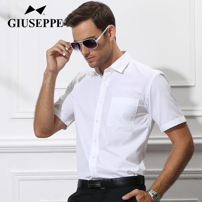 乔治白短袖衬衫夏季薄款男士衬衣商务休闲正装免烫工装白色寸衫潮
