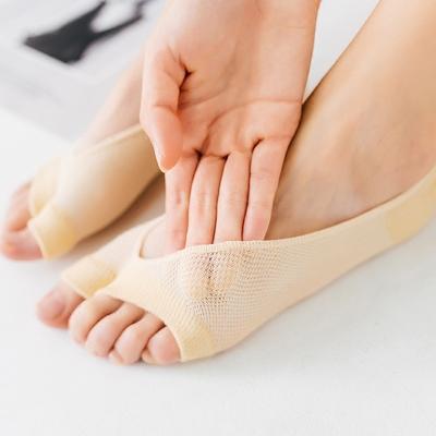 鱼嘴袜子女夏季薄款纯棉露脚趾袜韩国浅口硅胶防滑两指隐形船袜女