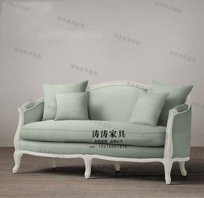 美式法式乡村复古做旧实木布艺三人沙发客厅阳台服装店定制家具