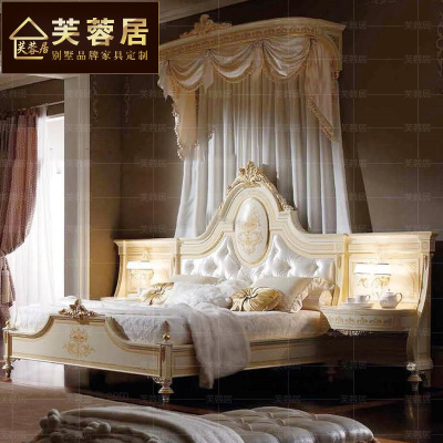 别墅卧室家具欧式全实木雕刻双人床雕花布艺床1.8婚床床头柜一体最新报价