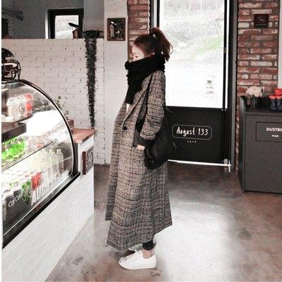 毛呢外套女中长款 冬新款韩版过膝呢大衣 黑白千鸟格开叉加长风衣