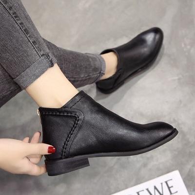 春秋马丁靴女英伦风百搭短靴平底韩版踝靴复古靴子2018新款及裸靴