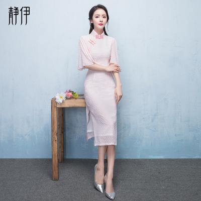伴娘服2018新款冬季中式改良日常旗袍中长款修身粉色显瘦连衣裙女