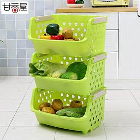 甘香屋单层蔬菜水果厨房置物架层架收纳筐储物架收纳架塑料菜篮子