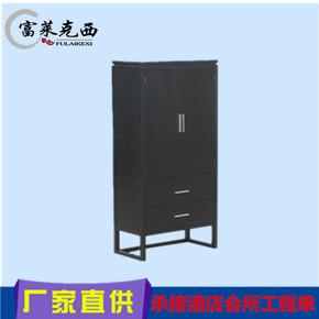 新中式大衣柜复古储物实木水曲柳衣柜两门 玄关柜卧室酒店大衣柜