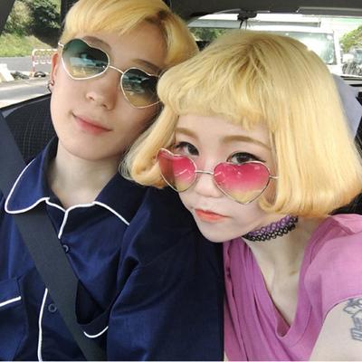 爱心墨镜女2018新款韩国潮心形眼镜桃心太阳眼镜男 软妹眼镜心型