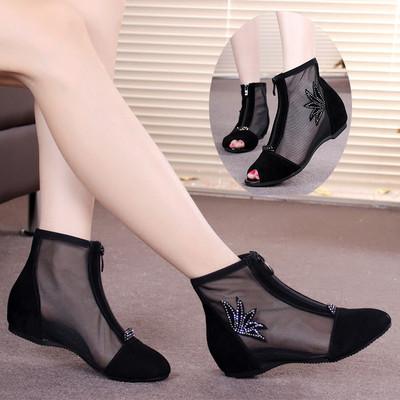 网靴女春秋真皮内增高短靴平底女单靴子夏季凉靴鱼嘴鞋网纱女鞋