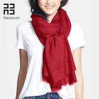 润帛 加密100%羊毛围巾女 欧美春秋冬季纯色酒红色披肩两用超长款