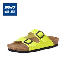 C02718 潮男半拖鞋 夏季耐穿时尚 Devo软木舒适勃肯一字双带凉拖鞋