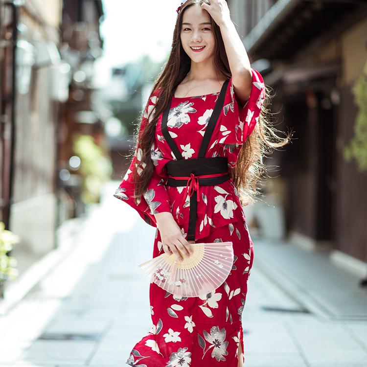 樱花见 定制 日本和风和服浴衣 复古印花吊带连衣裙套装 送腰封