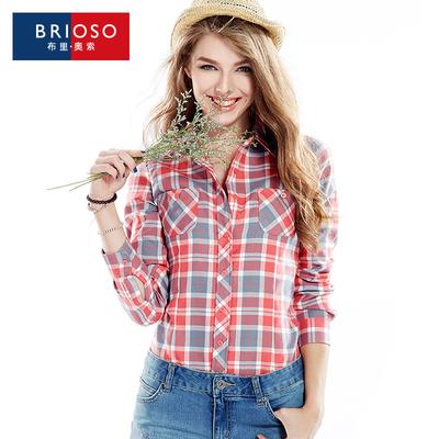 聚BRIOSO秋季新款女士磨毛加绒加厚保暖加绒格子衬衫女长袖潮
