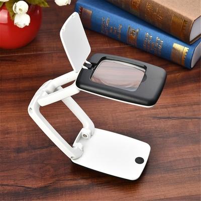 包邮 可折叠带灯高倍便携式台灯放大镜 8倍阅读看报手持珠宝放大