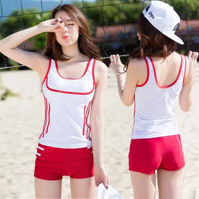 泳衣女分体保守学生两件套白色少女可爱运动背心式平角裤游泳衣