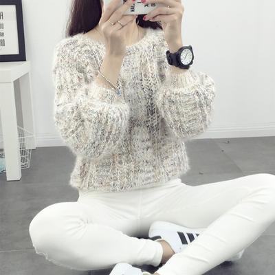 灯笼袖毛衣可爱女宽松春秋懒惰风套头韩版学生春装线衣短款外穿