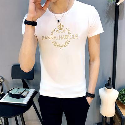 纯色圆领男士男款修身紧身短袖T恤夏季学生打底衫男装上衣服半袖