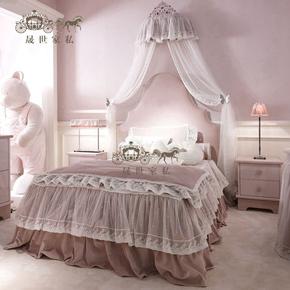 现货儿童床粉色梦幻公主床单人床女孩套房1.2米1.5米实木床欧式床