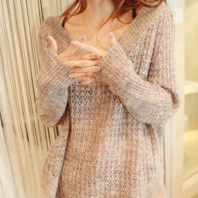 春秋女装外套新款2018韩版宽松V领镂空套头针织衫大码罩衫蝙蝠衫