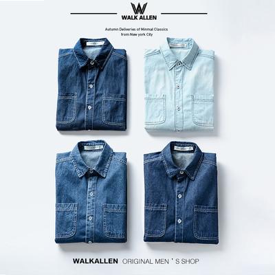 春季牛仔衬衫男韩版修身男士长袖衬衣学生潮流帅气BF情侣薄款外套