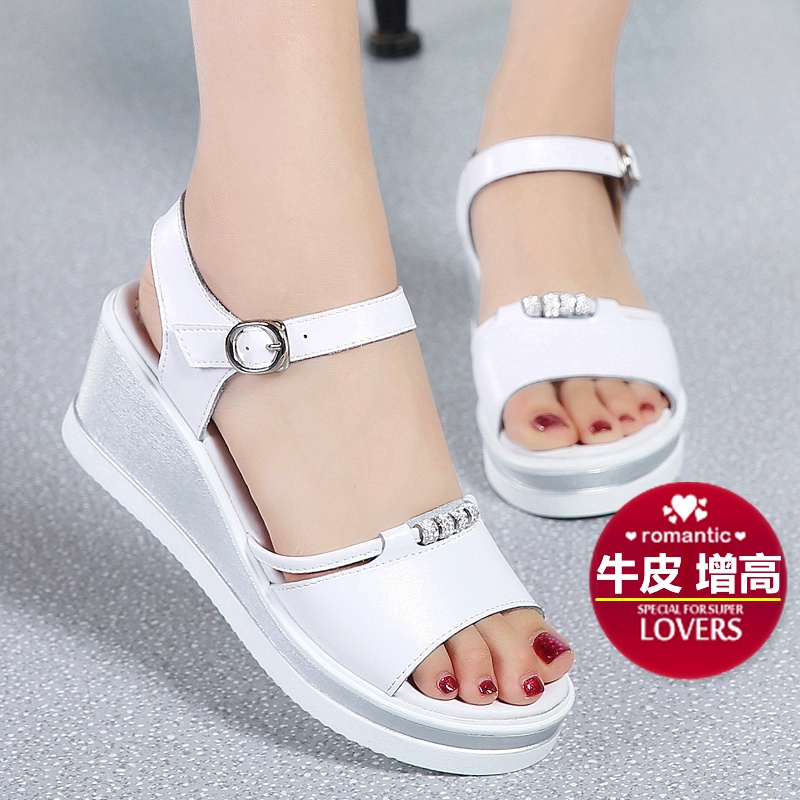 厚底凉鞋白色