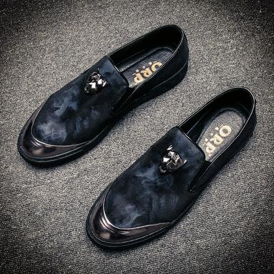 休闲板鞋男韩版一脚蹬鞋子内增高懒人男鞋秋季新款社会小伙乐福鞋