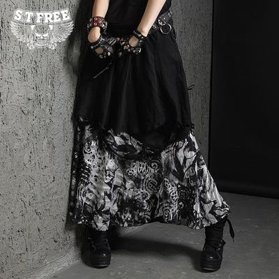 新款女装2016春夏装朋克风半身裙修身显瘦中长款长裙双层A字裙潮