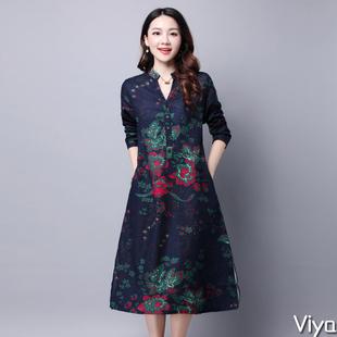 2017春秋女装新款潮中年气质碎花妈妈装民族风中老年棉麻中长裙子