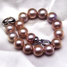 Drunk Natural Freshwater Pearl Bracelet Purple Pink 10-11mm Positive Round Strong Light Flaw Genuine Female