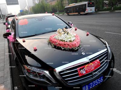婚车结婚花车玫瑰桔梗鲜花布置成都市区鲜花上门布置装车