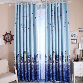 全遮光布地中海风格儿童房窗帘布料男孩卧室飘窗成品定制卡通蓝色