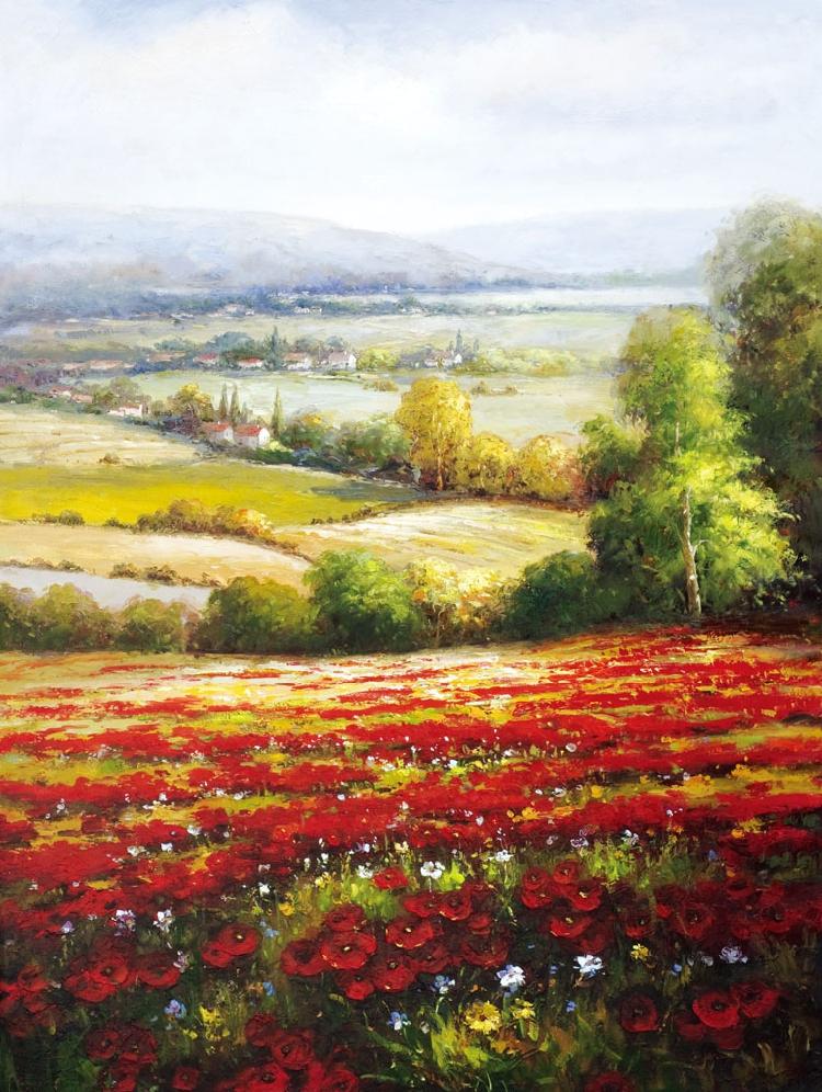 手绘田园丰收风景 山水 世界名画数字油画 客厅欧式装饰挂画4412A