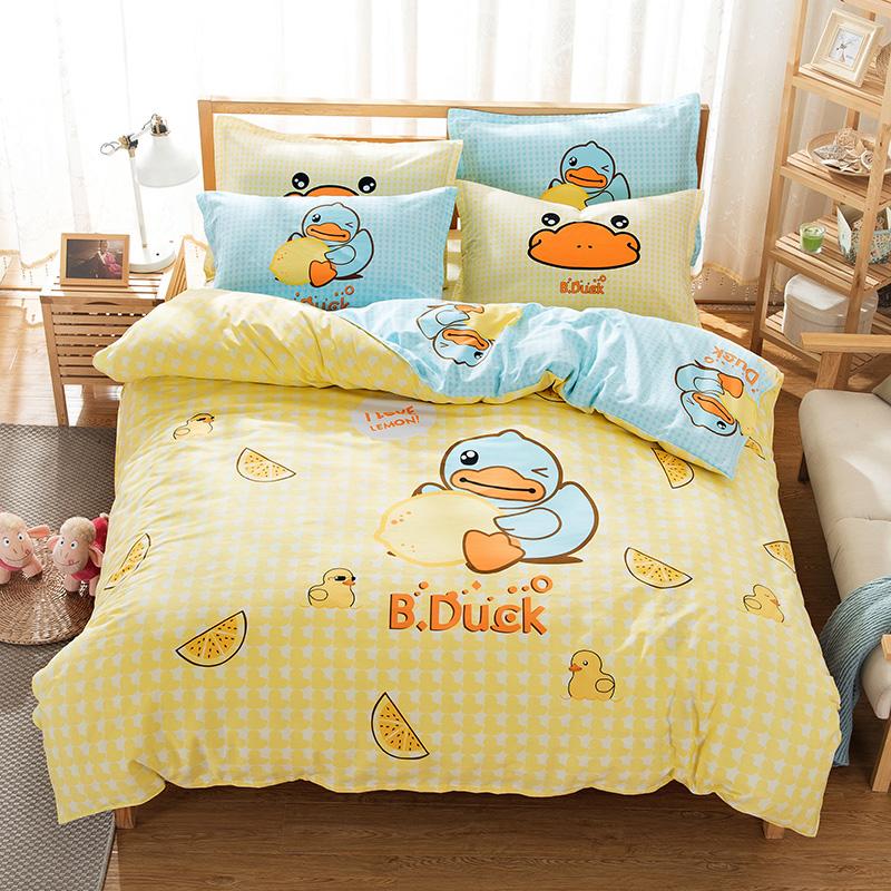 诗艺卡通全棉1.8m双人床四件套1.5床单被套儿童三件套纯棉1.2米床