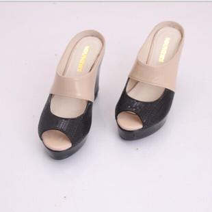 黑色亮片高跟鱼嘴鞋防水台坡跟凉鞋凉拖女鞋子单鞋小码鞋31 32 33