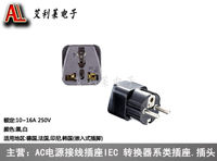 Shipping power conversion socket European pin to universal panel 4.8 pin European standard plug with ground wire WD-9