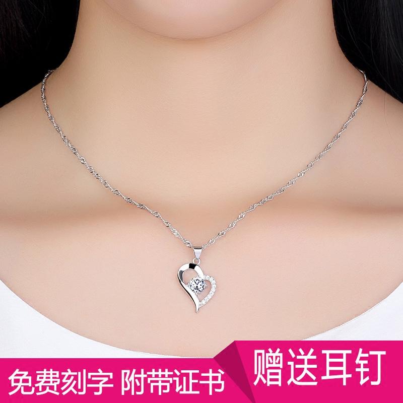 正品s925银项链女士 简约吊坠 锁骨链 学生首饰品 日韩版生日礼物