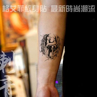 格艾菲堕天使纹身贴防水男女个性图腾欧美school风格花臂刺青贴纸